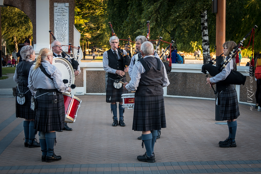 Pipe and Drums, Queenstown, Otago, Neuseeland, Südinsel, New Zealand